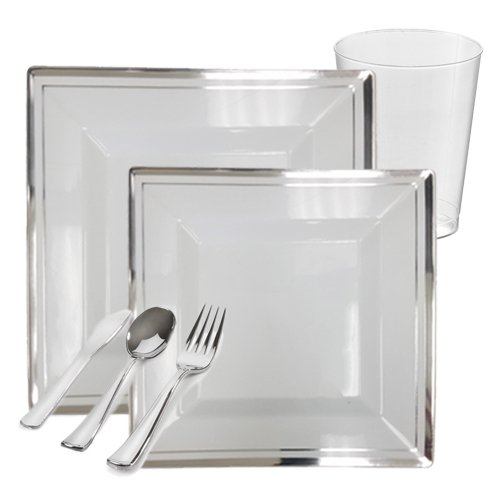 Posh Party Supplies | Bari Square White with Silver Rim Value Plastic Dinnerware Package for 20 Guests | Includes Dinner & Dessert Plates, Plastic Tumblers & Cutlery | 120 Piece Total