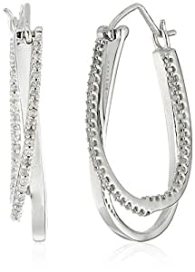 10k White Gold and Diamond Hoop Earrings (1/4 cttw, I-J Color, I2-I3 Clarity)