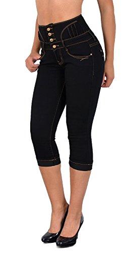 Pantacourt Pantalon J353 by Femmes tex Jeans J355 Grande Jean Taille Taille noir Femme Haute Capri dechir pour fxHFqw5