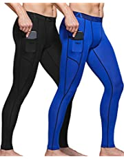 TSLA Men's 1, 2, 3 Pack UPF 50+ Compression Pants, UV/SPF Running Tights, Workout Leggings, Cool Dry Yoga Gym Clothes