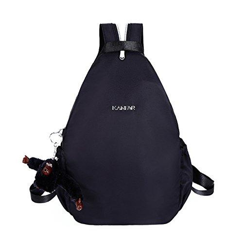 Flada nylon mochila casual mochila para niñas Negro