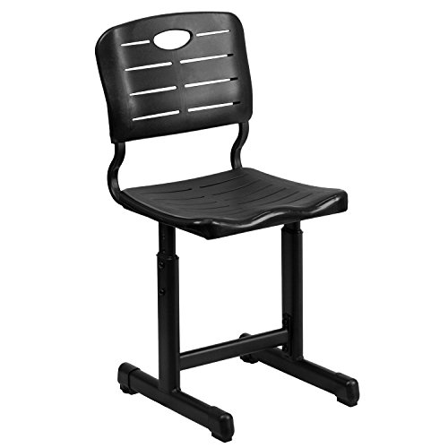(Flash Furniture Adjustable Height Black Student Chair with Black Pedestal Frame)