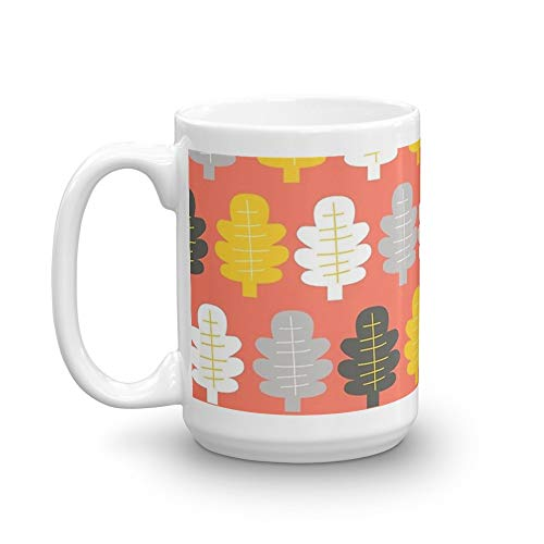 Autumn Leaves 15 Oz White Ceramic