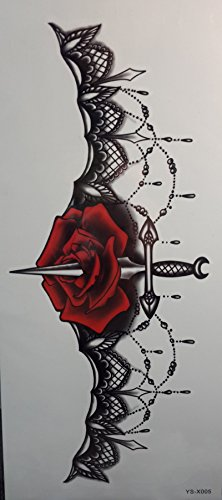 Tattoo stikcers for ladys'chest Jewelry design with rose flower and sword