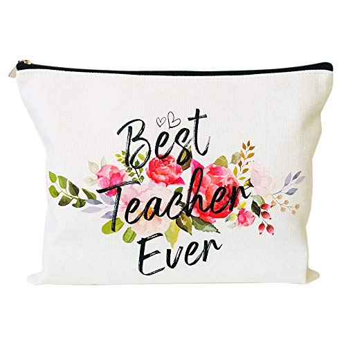 Teacher Appreciation Gifts Teacher Gifts Best Teacher Ever Teacher Gifts for Women Teacher Makeup Bag Pencil Pouch for Nursery Preschool High School
