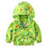 Wenjuan Outerwear Trench Windbreaker Coat Jacket Outerwear Hoodie Cartoon Print Autumn Hooded Clothes for Toddler Kids Unisex Children Baby (Green B, 2T)