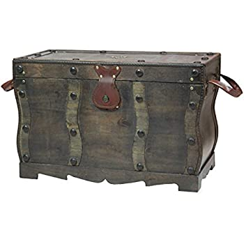 Elegant Antique Style Distressed Wooden Pirate Treasure Chest, Coffee Table Trunk