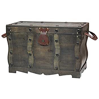 Vintiquewise QI003250L Antique Style Distressed Wooden Pirate Treasure Chest, Coffee Table Trunk