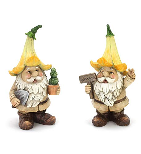 Two Gnome - Flower Capped Gnome Floral Yellow 10 inch Resin Stone Figurines Set of 2