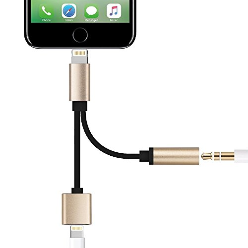 [Lightning to 3.5mm Audio Adapter for iPhone 7 / 7 Plus, Sprtjoy 2 in 1 Lightning Charger and 3.5mm Earphones Jack Cable for iPhone 7 / 7 Plus (Gold)] (Gold Double Cable)