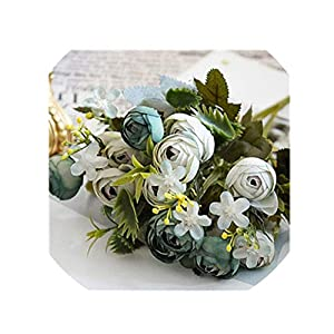 crystal004 5 Forks 13 Heads Bud Small Rose Silk Artificial Flowers for Wedding Home Table Vase Decoration Simulation Flower,As Picture4 15