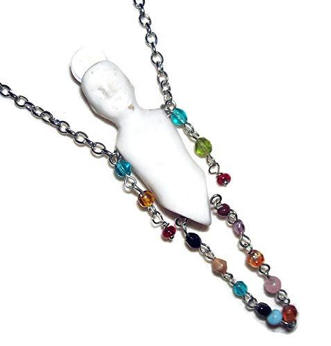 FROZEN CHARLOTTE GYPSY MIND READER Necklace Rock Crystal Quartz Orb FORTUNE TELLER Pendant
