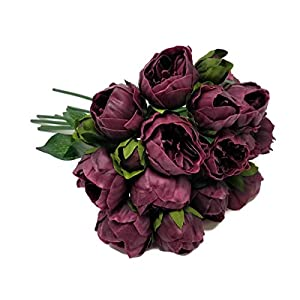 """Meide Group USA 14"""" Real Touch Latex Mini Peony Bunch Artificial Spring Flowers for Home Decor, Wedding Bouquets, and centerpieces (6 PCS) (Wine) 2"""
