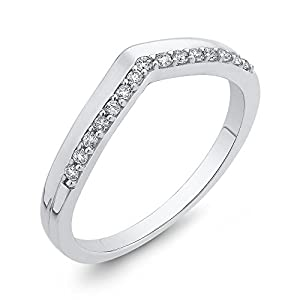 Diamond Fashion Ring in 10K White Gold (1/6 cttw, Colour GH, Clarity I2-I3) (Size-12.25)