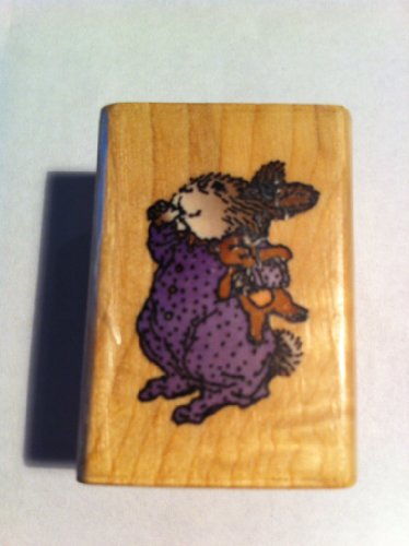 Bunny with Teddy Bear Rubber Stamp
