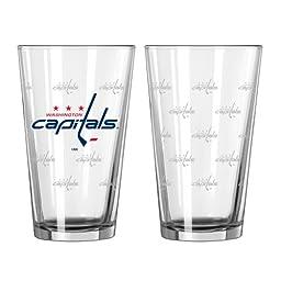 NHL Washington Capitals Satin Etch Pint, 16-ounce, 2-Pack