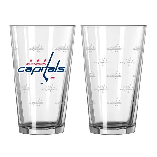 NHL Washington Capitals Satin Etch Pint, 16-ounce, 2-Pack