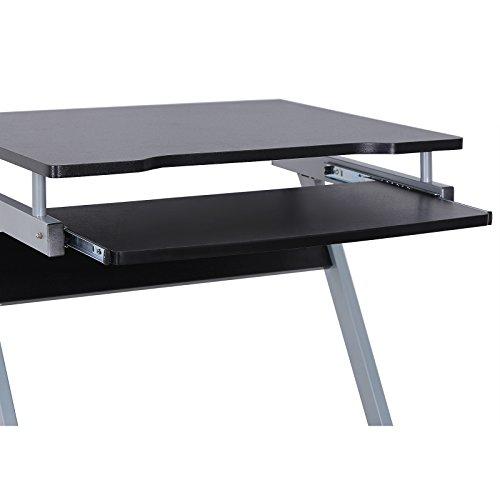 songmics bureau informatique table informatique meuble de bureau pour ordinateur noir lcd811b. Black Bedroom Furniture Sets. Home Design Ideas