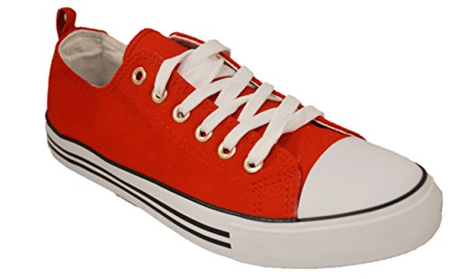 Shop Pretty Girl Women's Casual Canvas Shoes Solid Colors Low Top Lace up Flat Fashion Sneakers Version 2 Red Canvas Classic 9