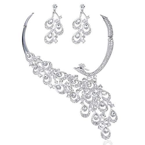 Janefashions Peacock Clear White Austrian Rhinestone Crystal Bib Statement Necklace Earrings Jewelry Set Party Bridal Wedding Silver N1391