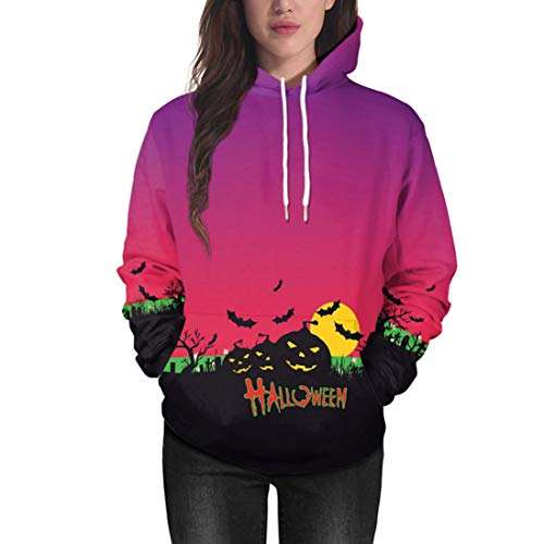 Fiaya Women's Halloween Hoodie Pumpkin Long Sleeve Pullover Tops Hooded Sweatshirt (Purple, M) -