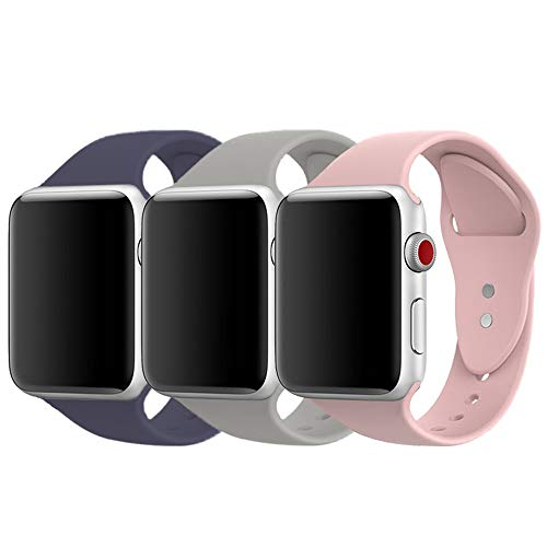 AdMaster Compatible for Apple Watch Band 38mm, Soft Silicone Sport Strap Compatible for iWatch Apple Watch Series 1/ Series 2/ Series 3, S/M Size (Midnight Blue/Pebble/Pink Sand)