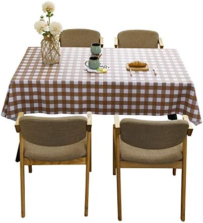 ManMengJi Rectangle Tablecloth Wipe Clean PVC Table Cover, Oil-Proof/Waterproof/Mildew-Proof Table Cloth for Kitchen Dinning Outdoor Picnic Camping Tabletop Decoration (Browm Check,54x54inch)