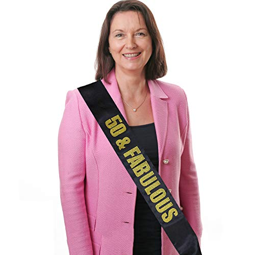Black Satin Birthday Sash 50 & Fabulous w/ Gold Glitter Letters - 50 & Fabulous - 50th Birthday Party Supplies,Favors - Celebration Ideas,Gifts