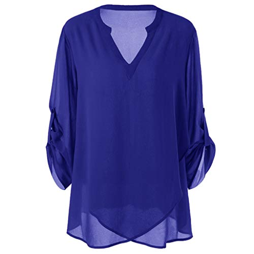 Londony ♥‿♥ Chiffon Blouses for Women Adjustable V-Neck Roll Up Sleeves Button Loose Fit Shirt Work Clothing