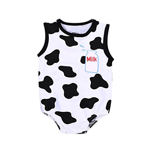 Minisoya Toddler Kid Baby Boy Girls Casual Letters Romper Playsuit Cute Cartoon Cow Costume Sleeveless Jumpsuit Outfit (White, 24M)