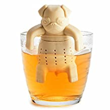 GOOTRADES Silicone Tea Coffee Infuser Pug In A Mug Teapot Herbal Spice Strainer Filter (Beige)