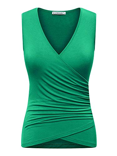 GUBERRY Tank Shirts for Women Deep V Neck Sleeveless Wrap Front Sexy Blouse Tops Green ()