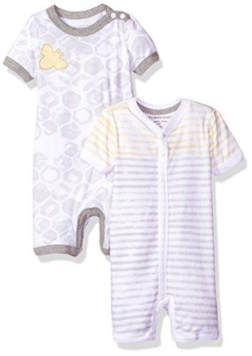 Burt's Bees Baby Baby Boys' 2 Pack Organic Cotton Shortalls, Fog, 12 Months