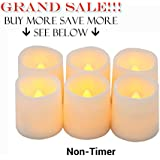 """Timer Flameless Candles By Festival Delights® - Premium IC-controlled Soft Flickering Votive Battery Operated Candles, 70+ Hours of Lighting, 5-Hours-Cycle Timer, Battery cells included, Dia. 1.5""""x1.75"""" Height, LED Candles, Flameless Candle Set, Votive Candles, Wedding Decor (Timer)"""