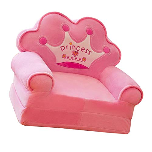 (Flameer Princess Crown Armchair Cover Cute Cartoon Washable Children Fold Sofa Chairs Seat Cover Upholstered Living Room Furniture - Pink)