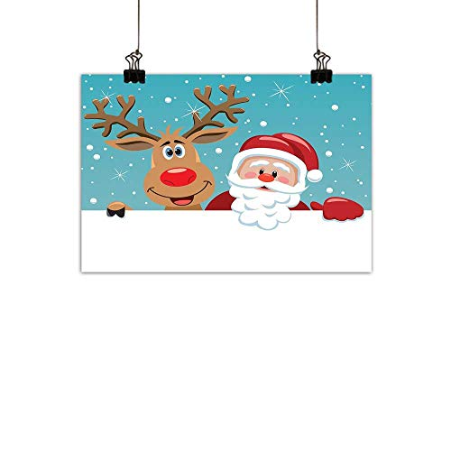 duommhome Santa Simulation Oil paintingCute Rudolph Deer and Santa Claus Greeting The New Year Happily in Cartoon Style Decorative Painted Sofa Background wallMulticolor -