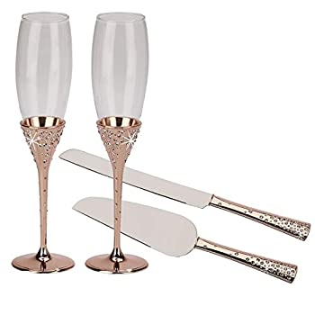 Image of Rose Gold Toasting Flutes and Cake Knife Server with Embedded Crystals