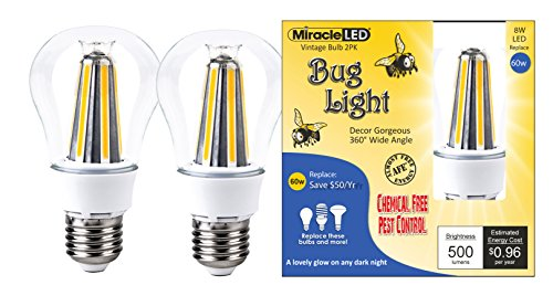 (MiracleLED 606499 Degree Decor Gorgeous LED Un-Edison Vintage 360° Wide Angle Bug Lite Outdoor Porch, Patio, Deck & Entry Way Light Bulb, 2-Pack, 2 Piece)