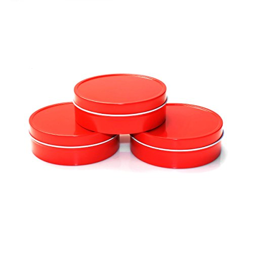 (Mimi Pack 6 oz Shallow Round Metal Tin Can Empty Slip Top Lid Steel Containers For Cosmetics, Favors, Spices, Balms, Gels, Candles, Gifts, Storage 24 Pack (Red))