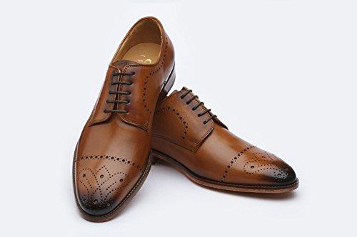 3dm Lifestyle Handgemaakt Herenleder Oxford Modern Klassiek Veterschoen Gevoerd Met Perforatierand Oxfords Schoenen Tan