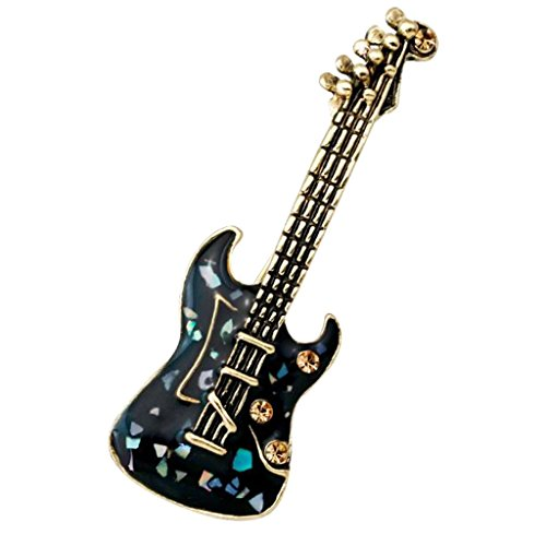 Modogirl Enamel Violin Brooch Pin Musical Instrument Brooches Corsage Gold Plated for Girls Women Black by Modogirl