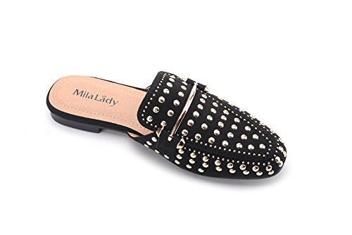 Womens Heeled Mila Loafer Slip 1 Fashion On Lady Casual Sandals Shoes Flat Mules Low Black Slides 1wqF05aqx