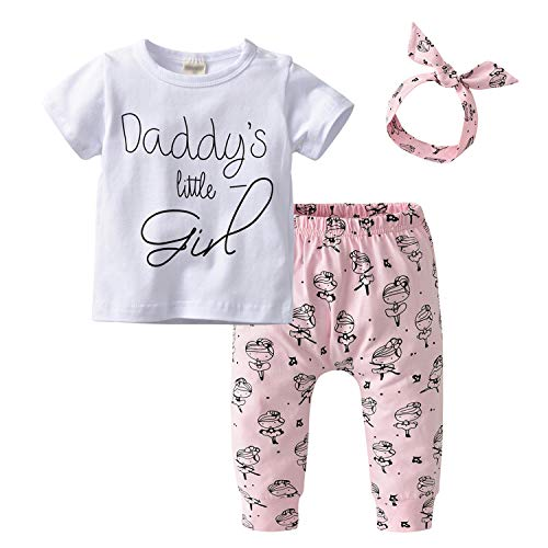 Baby Girls 3Pcs Outfit Set Daddy Little Girl Short Sleeve T-Shirt Tops Cartoon Pants with Headband (70(6-9 Months)) ()