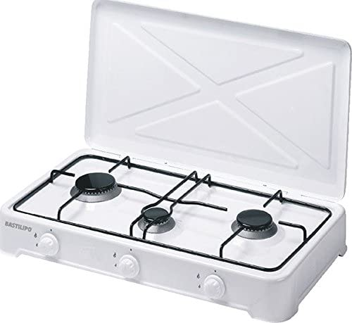 Bastilipo CG-300 Cocina de Gas Butano o Propano, 4 W, Estructura de Acero con Doble Capa de Esmalte, Blanco: Amazon.es: Hogar