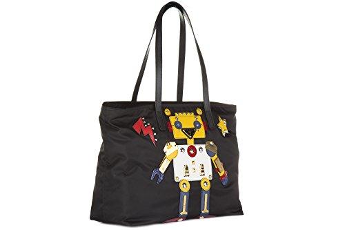 b49137256f913 Prada Schultertasche Nylon Damen Tasche Umhängetasche Bag robot Schwarz ...