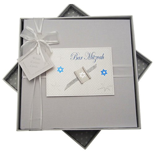 white cotton cards Bar Mitzvah Photo Album Jewish Gift (Medium, Boys)