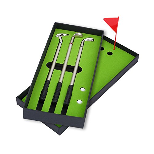 Golf Pen Set, Mini Golf Balls Toy Desktop Golf Gift set includes Putting Green,Flag,3 Golf Clubs Pens & 2 Balls by VGEBY (Image #3)