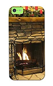 Blackducks Iphone 5c Well-designed Hard Case Cover Christmas Fireplace Fire Holiday Festive Decorations Protector For New Year's Gift