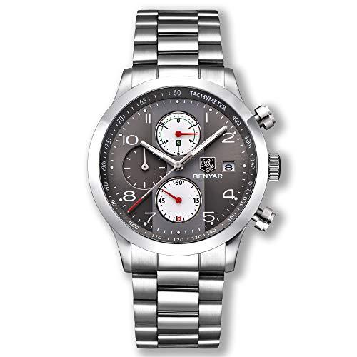BENYAR Men Watch Chronograph Waterproof Watches Business Sport Stainless Steel Strap Wrist Watch for M
