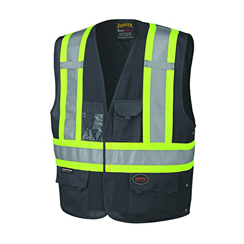 Pioneer High Visibility, Reflective Safety Vest, ANSI Class 1, Black ( 4/5XL )